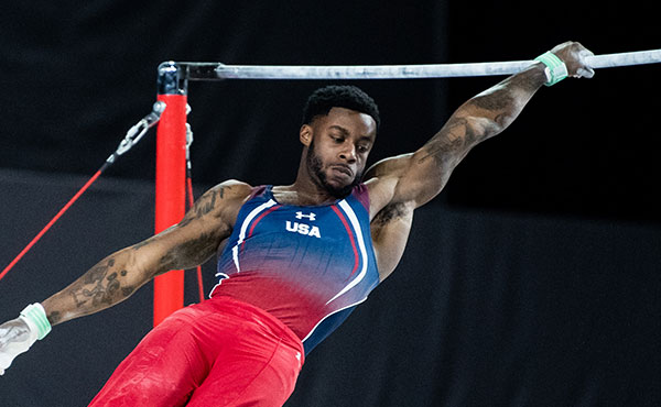 Kimble advances to high bar final at Cottbus World Cup