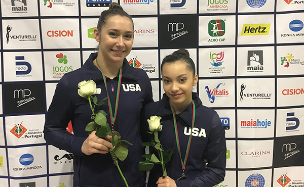 Rosilier, Davis win women's pair bronze at acro's Maia World Cup