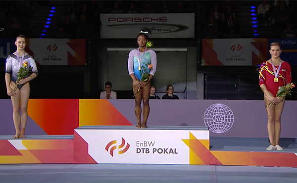 Biles win's women's all-around at DTB Pokal World Cup