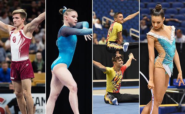 U.S. gymnasts are competing in men's and women's, rhythmic, acrobatic gymnastics