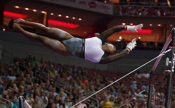 Like a superhero, Biles blazes to U.S. Classic win