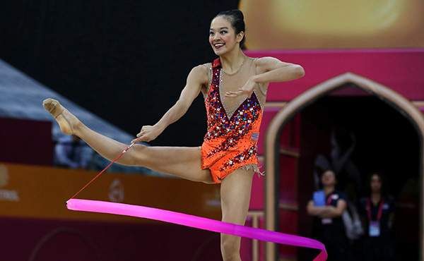 Zeng qualifies for today's ribbon final at 2019 World Rhythmic Gymnastics Championships