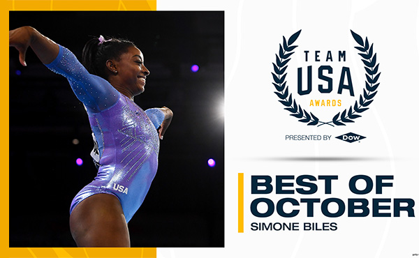 Biles wins USOPC's Best of October honor for Team USA Awards presented by Dow