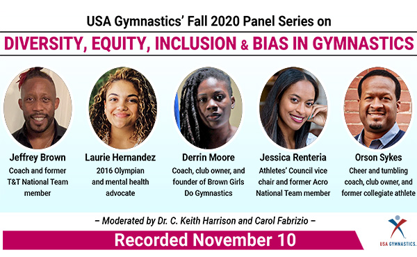 Recording available for November 10 panel on diversity, equity and inclusion in gymnastics