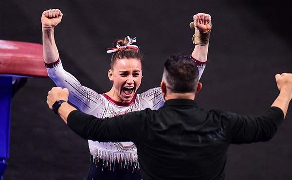 Webb earns three NCAA national championships, including the all-around title, field set for Saturday's team final