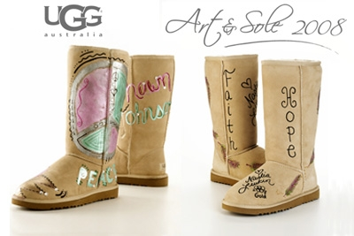 USA Gymnastics | Johnson, Liukin paint boots for UGG Australia's sixth annual Art & Sole Collection